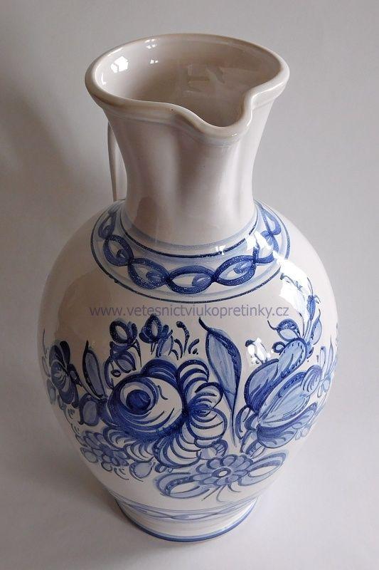 Velký keramický #džbán, ručně malovaný  #vetesnictví #bazar #retro #junkshop #vetesnictviukopretinky #keramika #pitcher #ceramics