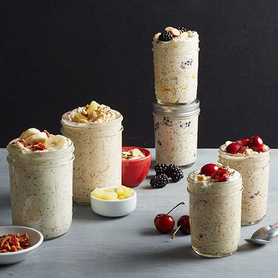 Buzzy breakfast alert! Overnight oats are the master of morning convenience. Transform a power trio of rolled oats, chia seeds, and Greek yogurt into luscious, creamy oatmeal without any cooking or mess. Simply soak the ingre