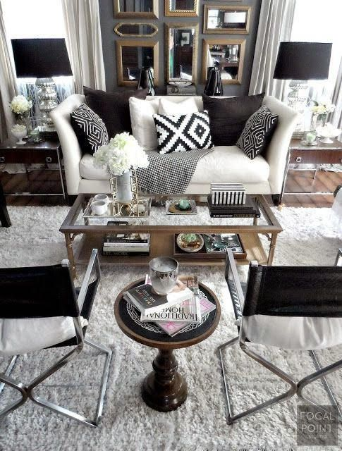 42 best Black and White Rooms images on Pinterest White rooms - black and white living rooms
