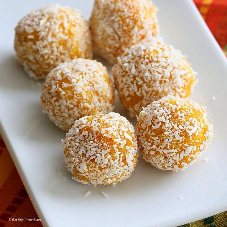 Mango Coconut Ladoo. Fudgy balls made with Mango Puree, Coconut and almond meal. Vegan gluten-free recipe. | VeganRicha.com