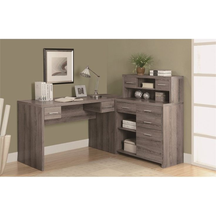 Lowest price online on all Monarch Hollow Core L Shaped Home Office Desk with Hutch in Dark Taupe - I 7318
