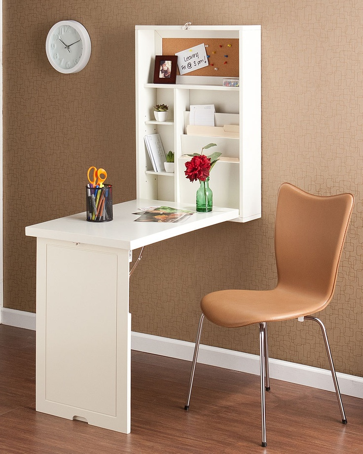This fold-out desk is such a smart space-saver!  Resolve to Get Organized :)