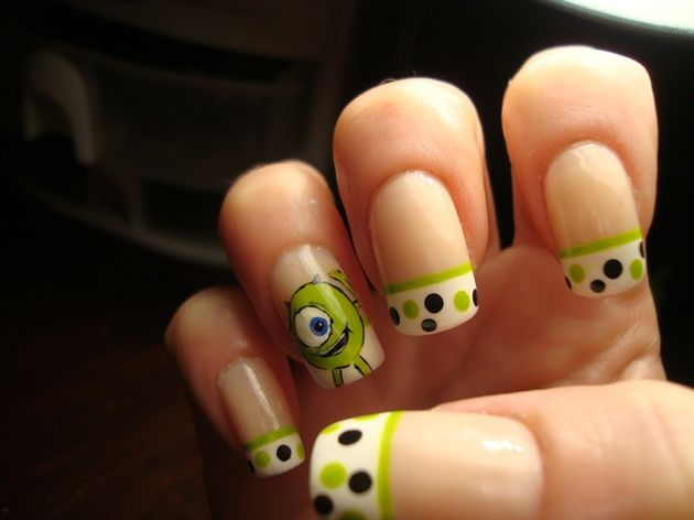 Monsters Inc. 'Mike' Nails    I never thought my favorite Movie Cartoon Character would be on nails. THIS, is the best(: