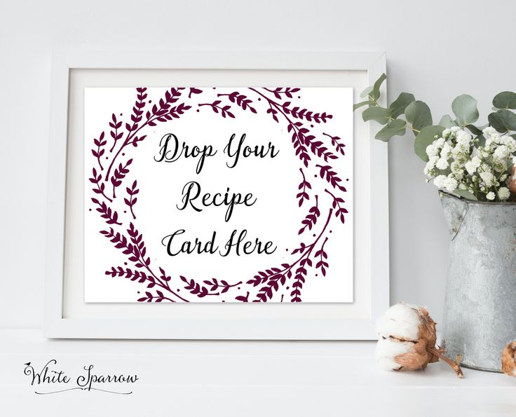 """""""Drop your recipe card here"""" sign for your wedding, bridal shower, wedding shower or kitchen tea. From @whitesparrowp"""