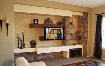 Center Entertainment Idea Floating Shelves | Entertainment Center Shelving Design Ideas, Pictures, Remodel, and ...