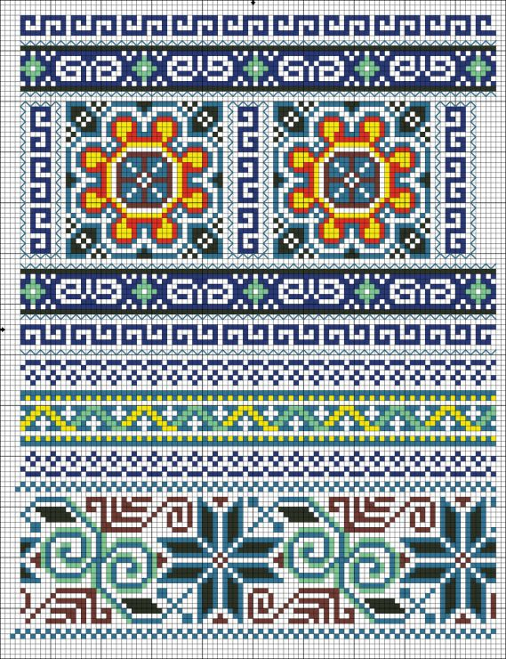 Cross-stitch Borders... no color chart available, just use pattern chart as your color guide.. or choose your own colors...   Gallery.ru / Photo # 1 - 20 - irisha-ira
