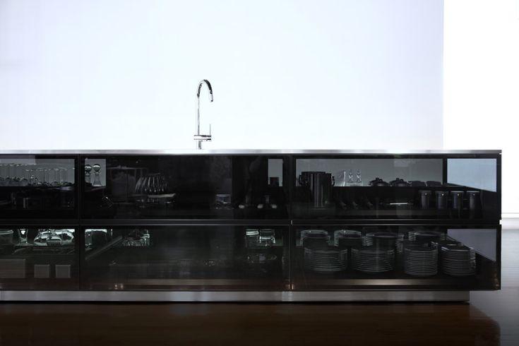 Finesse glass modular kitchen system by Tokujin Yoshioka