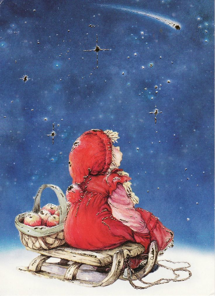 Lisi Martin (little girl in red with a basket of apples watching a shooting star)
