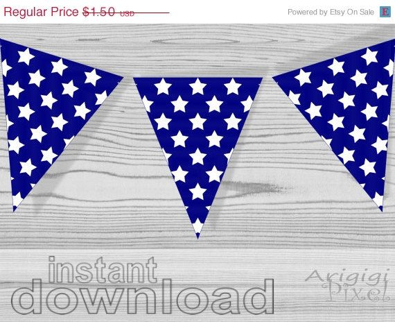 ON SALE 50 % OFF blue pennant with white stars by ArigigiPixel