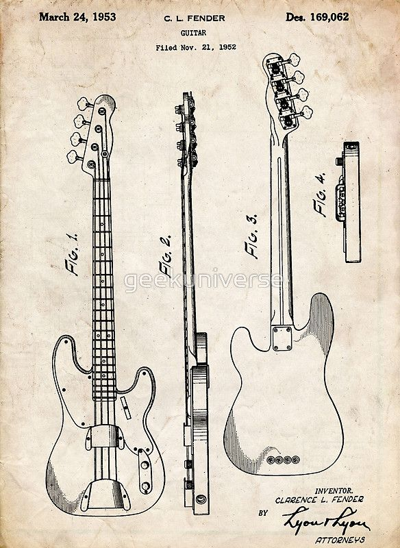 Fender Precision Bass Guitar US Patent Art poster print