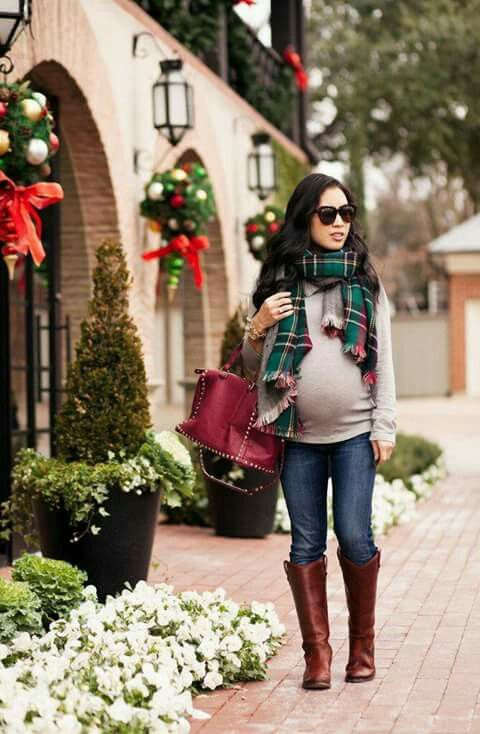 Plaid scarf maternity