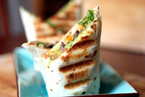 Panini BurritoVegetarian Burritos, Sour Cream, Avocado Burritos, Black Beans, Guac Burritos, Guacamole Burritos, Mr. Beans, Dinner Tonight, Grilled Black