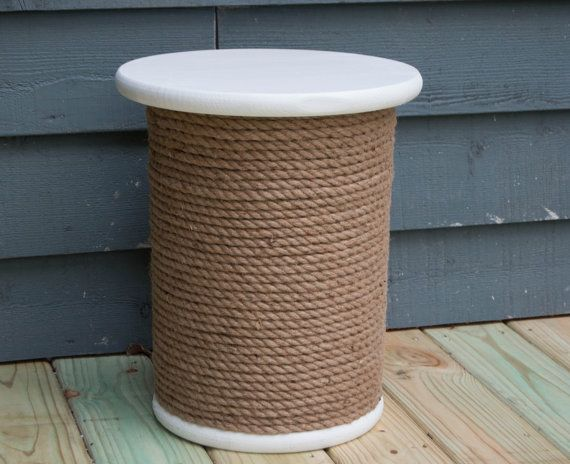 Wooden Spool Table Storage Table Rope Accent by PalletfRENZZY