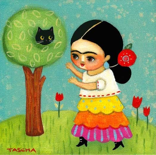 FRIDA kahlo rescues cat from tree PRINT from original cat folk art painting by tascha