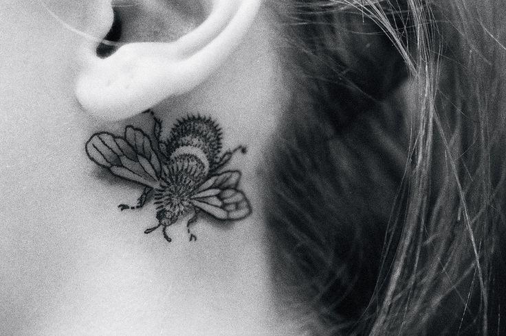 black work bumblebee tattoo