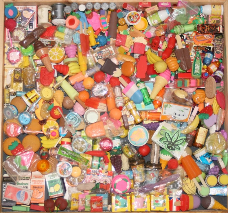 Eraser collection circa 1980s. Ok this is pretty sad to admit. Mine wasn't this spectacular and didn't include a certain green leaf (bottom right) but did include a maccas happy meal eraser set lol.