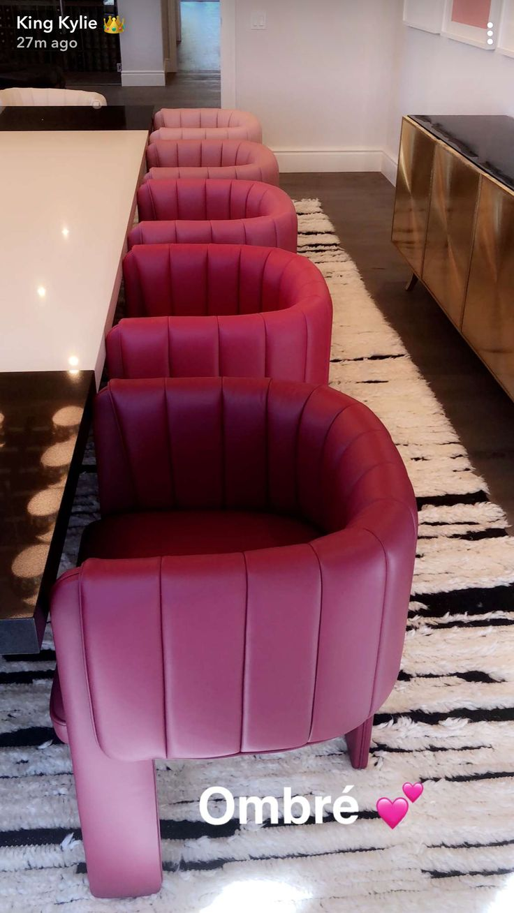 From Kylie Jenner's Snapchat. Adorable ombré chairs   #ombre #chairs #cute #dinningroom #seating #socute #kyliejenner