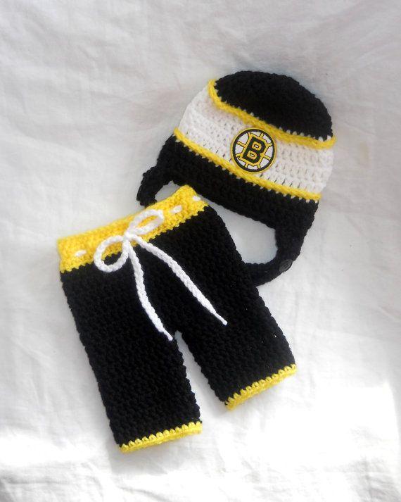 Boston Bruins Inspired Crochet Baby Hockey Helmet Hat by ...