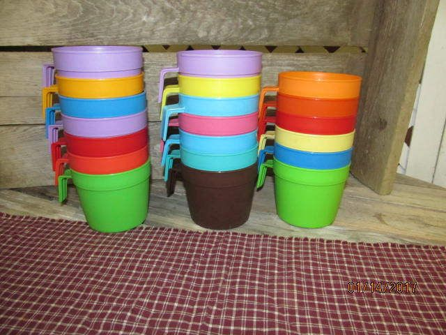 Vintage Lot Assortment of 20 Plastic Retro 70's Bright Colorful Plastic Children's Cups with Hook Handles Great for Kids by EvenTheKitchenSinkOH on Etsy
