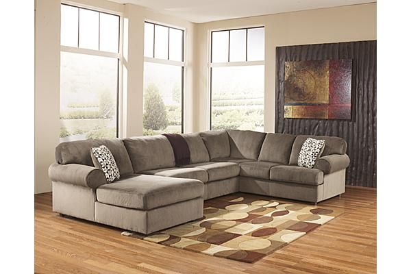 """The Jessa Place 3-Piece Sectional from Ashley Furniture HomeStore (AFHS.com). With the ample seating area of this comfortable sectional making sure that everyone has the best seat in the house, the stylish contemporary design of the """"Jessa Place-Dune"""" upholstery collection features oversized set-back rolled arms along with supportive seat and back cushioning all surrounded with a plush upholstery fabric."""