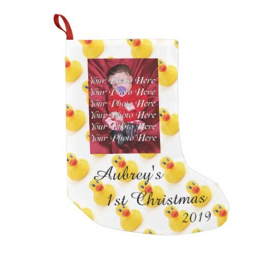 Yellow Rubber Ducks Baby's 1st Christmas Personalized Christmas Stocking
