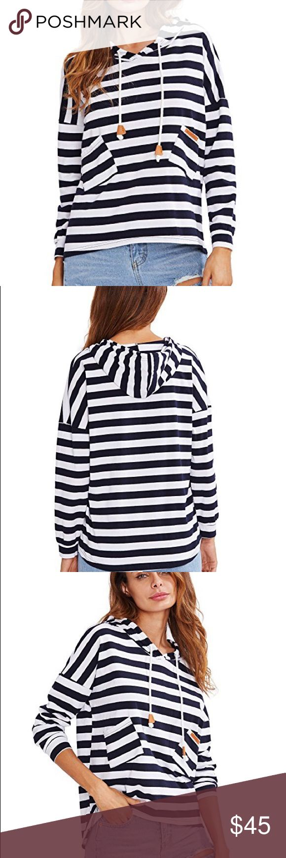 Hooded navy tunic Brand new with tags boutique navy blue and white striped hoodie tunic top. One size fits most. Pls refer to size chart for info on sizing. 100% cotton.  POSH RULES ONY, NO PP, NO LOWBALL OFFERS, NO TRADES.  HAPPY POSHING! boutique Tops Tees - Long Sleeve