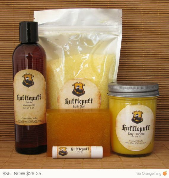 Harry Potter Themed Hufflepuff Gift Set - Bath Salt, Soy Candle, Soap, Lip Balm and Massage Oil