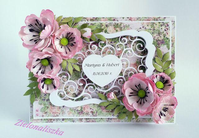 Papierowe chwile zielonejliszki, Card with pink flowers