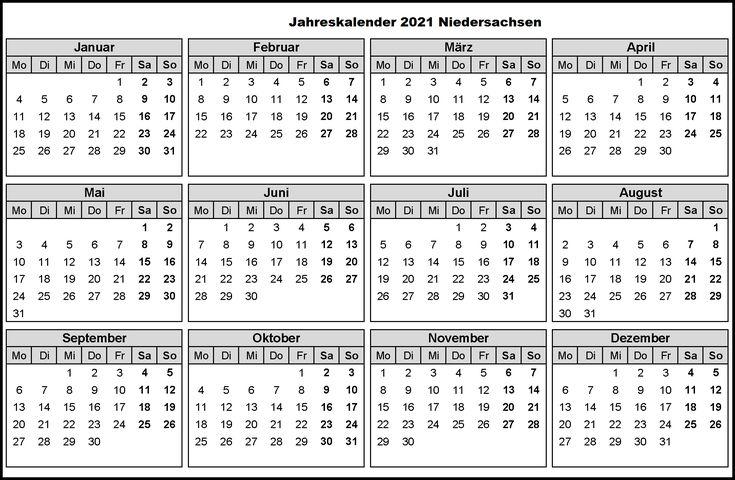 Jahreskalender 2021 Niedersachsen Pdf In 2020 Jahres Kalender Kalender Feiertage Jahreskalender