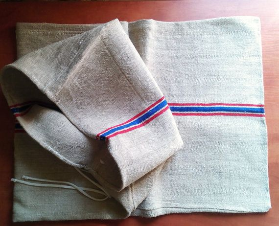 Vintage blauw-rood gestreepte grainsack zak door TransylvaniaMania
