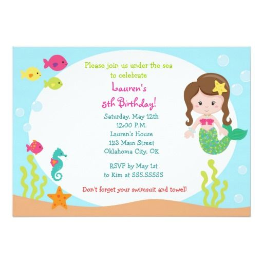 372 best Mermaid Birthday Party Invitations images on Pinterest