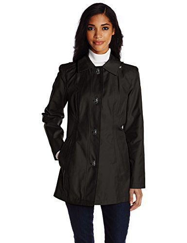 Anne Klein Women's Single-Breasted Trench Coat with Clasp Closure