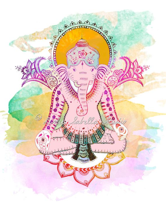 Ganesha-Kunstdruck - Elefant, Boho, Yoga Kunst, Yogi