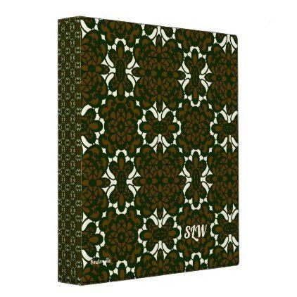 Brown Green Lace Design Monogram Template 3 Ring Binder - monogram gifts unique custom diy personalize