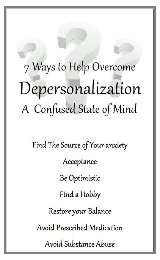 "According to most psychological experts, being ""Depersonalized"" is one of the most dreadful and confusing states of mind an individual can experience. It can cause Anxiety and Panic attacks. However Depersonalization Disorder can be treated."