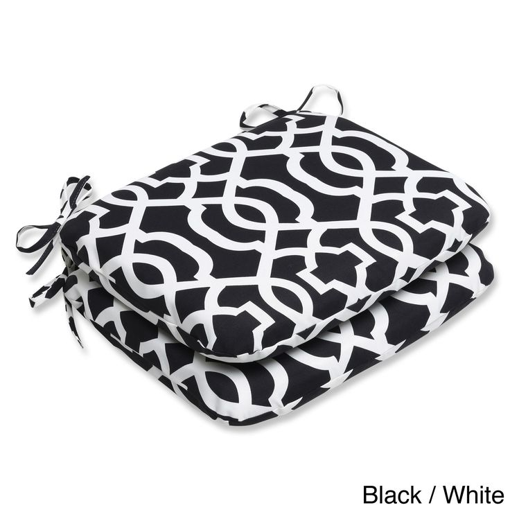 Pillow Perfect Outdoor New Geo Rounded Seat Cushion (Set of 2) (New Geo Black/White), Outdoor Cushion