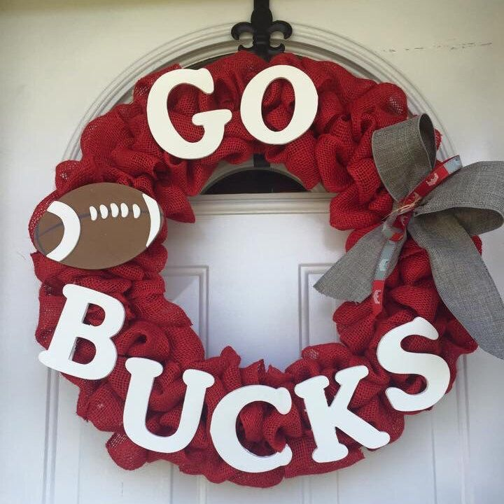 Ohio State Buckeyes Football Wreath by PaulasDoorCreations on Etsy https://www.etsy.com/listing/240810237/ohio-state-buckeyes-football-wreath