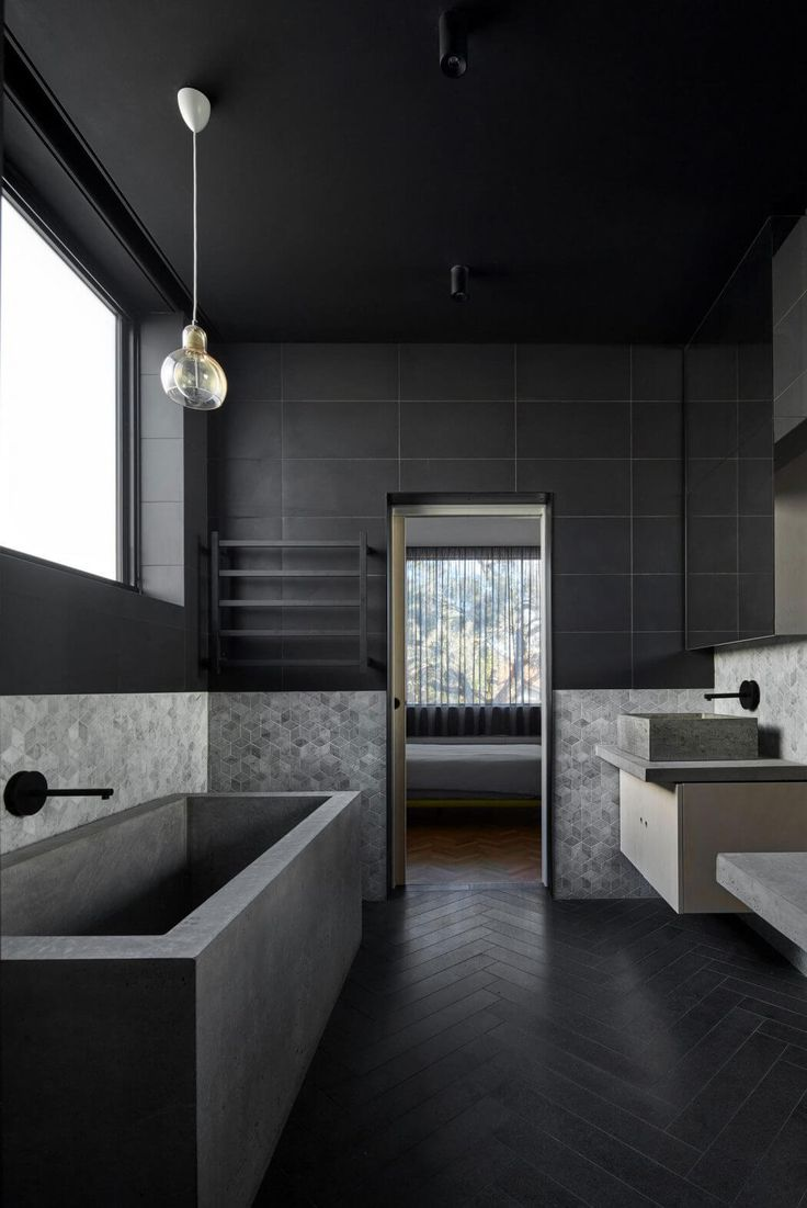 Best 25 black bathrooms ideas on pinterest concrete for Dark bathrooms design