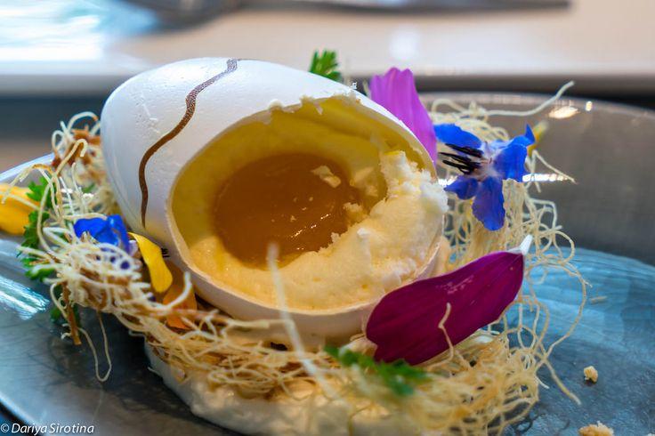RON Gastrobar (Amsterdam) | крем из гусиной печени с соусом из манго + мягкопанцирный краб с вонтонами из куриной печени и китайской капустой + тартар из говядины с картофельными чипсмаи + десерты (яйцо с сюрпризом: сахарная оболочка, творожный крем и капля абрикосового джема внутри) | приходить сюда очень голодными! history: http://darsik-dasha.livejournal.com/285416.html