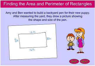 """This is an image from this resource on the Internet4Classrooms' """"Fifth Grade Interactive Math Skills - Measurement and Time"""" resource page:    Finding the Area and Perimeter of Rectangles and Squares.    Lesson and activity on measuring the length and width of a variety of rectangles as well as calculating the area and perimeter of each."""