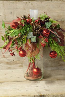 This is a fun idea....I would put a slim Christmas tree on top with scattered matching ornaments.....This says: kerst workshop christa snoek