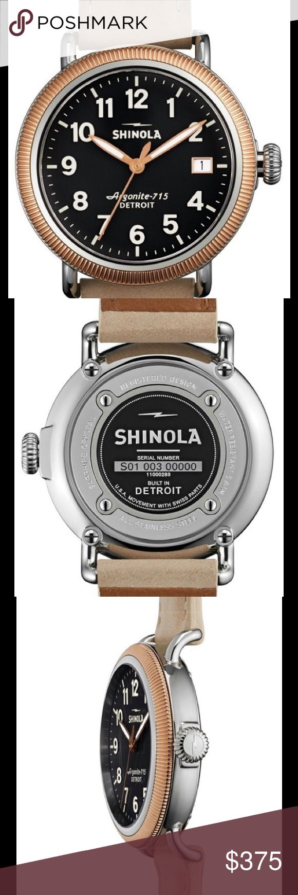 Shinola Runwell Coin Edge Rose Gold 38mm Watch With a coin edge of PVD Rose Gold, this timepiece is a small twist on the classic Runwell style. Featuring a leather strap and black dial, it is backed up with the highly accurate power of the Detroit-built Argonite 715 quartz movement making this marriage of style and substance a definite winner. Double curve sapphire crystal. Handmade in Detroit from Swiss-made parts. PRICE IS FIRM Shinola Accessories Watches