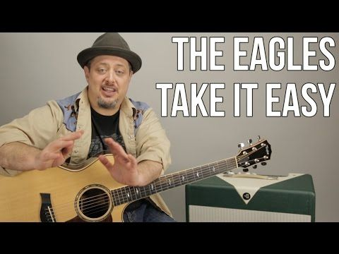 Learn EZ beginner song Eagles Take It Easy guitar lesson with chords rhythms strum patterns - YouTube