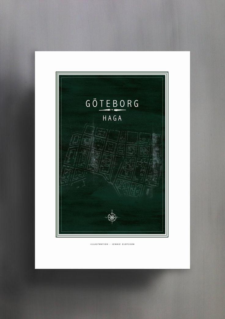 HAGA | GÖTEBORG | GRÖN | © Line of Art by Jennie Elofsson Handtecknad karta med sammetsgrön akvarell i bakgrunden. Finns i åtta färger och tre storlekar. In och hitta din favorit!    Hand-drawn map of Gothenburg with a deep green watercolor background. Available in eight colors and three sizes. Find your favorite!    Kartposter, map poster , print , poster , art print, illustration, lineofart, kalkfärg