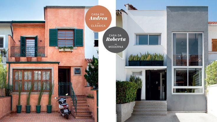 Duas casas parecidas passam por reforma: uma vira clássica; a outra, moderna