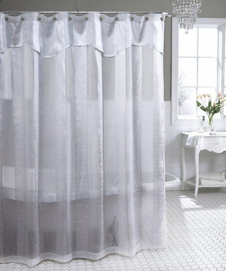 White Lace Shower Curtain With Valance