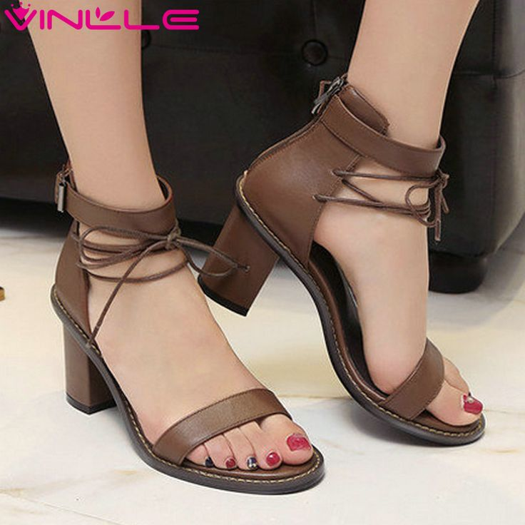 VINLLE 2017 Woman Sandals Genuine Leather Sandals Square High Heel Summer Peep Toe Western Gladiator Wedding Shoes Size 34-39