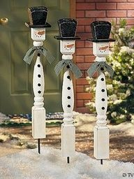 Wooden spindle snowmen. Buy from your local home improvement store (a pinner said Lowes sells them for 3 bucks). Then paint them into snowmen.