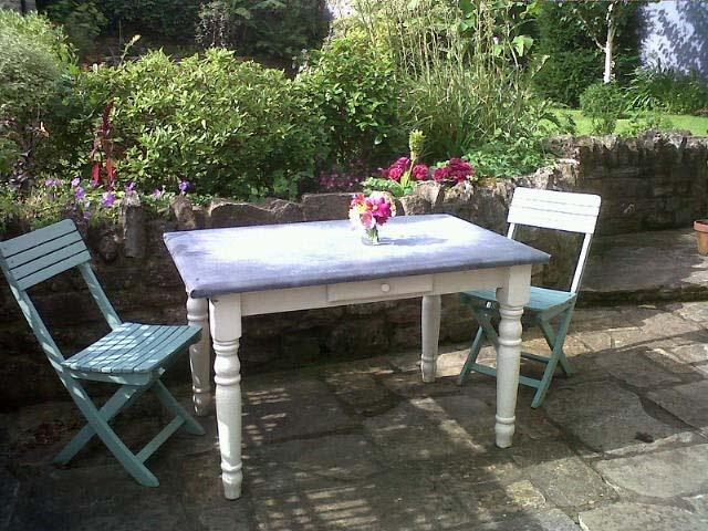 Delightful Zinc Covered Table In My Garden