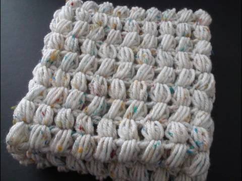 Puff stitch scarf. Video demonstrates how to crochet a puff stitch scarf.  worked for me! :)